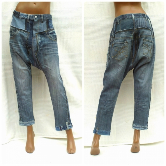 ART TEXTILE, MODE sarouel jean recyclage éco-mode  - Sarouel unisexe à entrejambe courte PATCHWORK BLUE DENIM