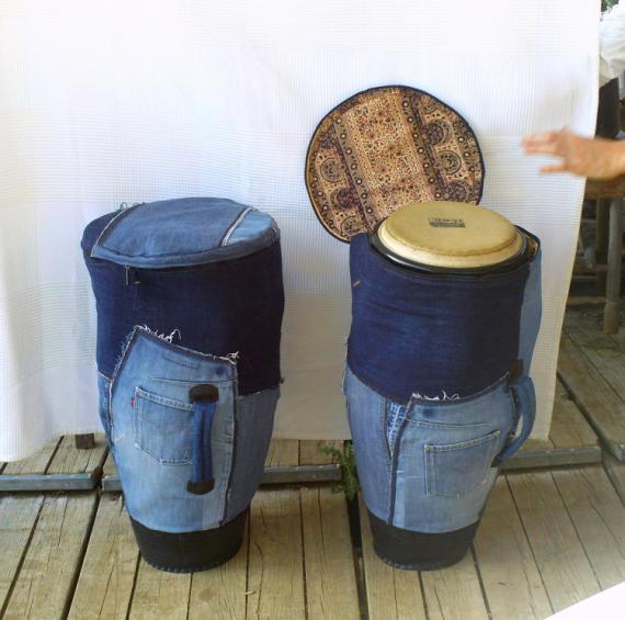 ART TEXTILE, MODE sac housse jeans congas  - Housse de conga en jeans