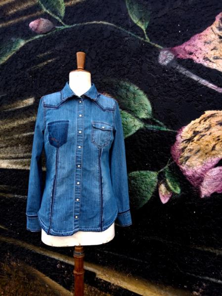 ART TEXTILE, MODE jean bleu jeans denim  - Chemise femme DENIM GIRL