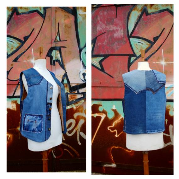 ART TEXTILE, MODE gilet gilet homme gilet jeans jeans  - Gilet d'homme PATCHWORK BLUE DENIM