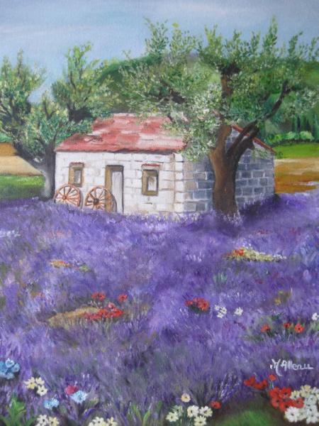 TABLEAU PEINTURE masure lavande provence nature Paysages Peinture a l'huile  - provence