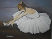 tableau personnages danseuse assise tutu blanc : danseuse