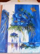 tableau fleurs : symphonie bleu