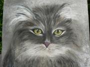 tableau animaux chat skogkatt peinture acryliqueet creation : chat