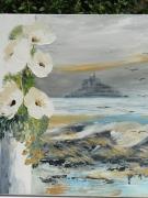 tableau marine mont st michel peinture huile compo florale carnet de voyage : mont st michel