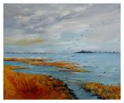 tableau paysages baie de somme peinture huile st valery le crotoy : Baie de Somme