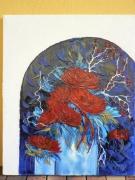 tableau fleurs huile spatule dahlias rouge technique mixte art alsace : symphonie rouge