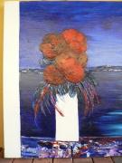 tableau fleurs huile spatule bouquet pivoine invitation voyage reverie : rêverie