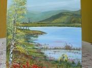 tableau paysages le maerel oderen etang de peche toile coton : le maerel
