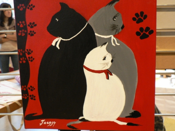 TABLEAU PEINTURE huile chat creation art Animaux  - cha!chat!chat!