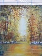 tableau paysages paysage automnal peinture huile : Sérénité