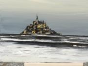 tableau marine mont st michel peinture huile serenite : mont st michel