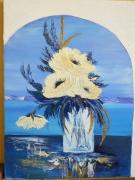 tableau nature morte peinture huile bouquet pivoine structura blanc bleu ceruleum : plénitude 2