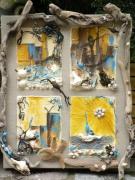 tableau abstrait bois flotte recup art peinture mixte : bois flotté