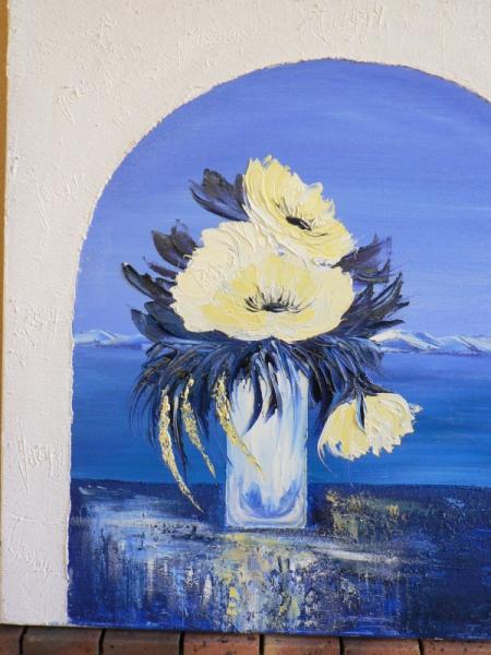 TABLEAU PEINTURE peinture huile bouquet pivoine bleu et blanc structura Fleurs Peinture a l'huile  - plénitude