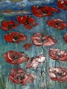 tableau fleurs coquelicots peinture huile rouge : coquelicots