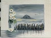 tableau marine montst michel peinture mixte carnet de voyage : mont st michel