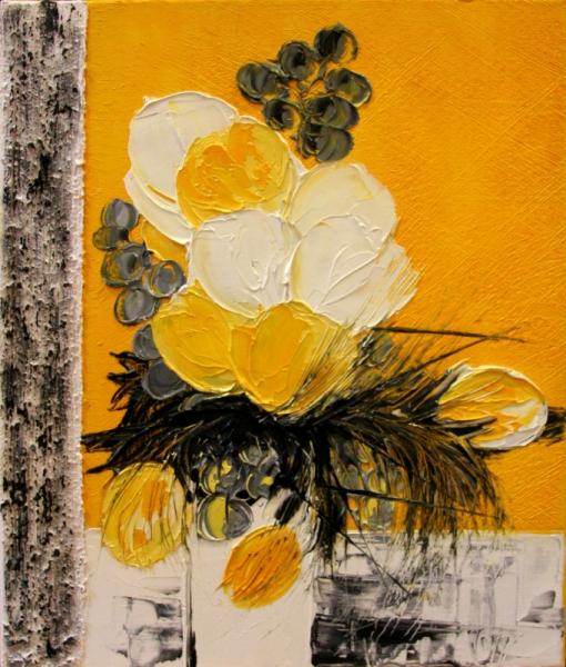 TABLEAU PEINTURE peinture fleurs creation galerie Fleurs Peinture a l'huile  - symphonie jaune