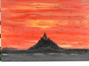 tableau marine mont st michel coucher de soleil carnet de voyage peinture en relief : mont st michel