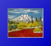tableau paysages baux de provence peinture huile couteau : les Baux de Provence