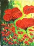 tableau fleurs coquelicot peinture spatule peinture huile : joli coquelicots