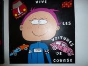 tableau personnages tableaux enfants naif : Vive les voitures