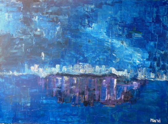 TABLEAU PEINTURE Abstrait Acrylique  - Atmosphère bleue vie