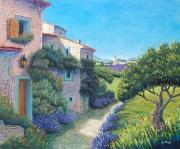 tableau paysages provence paysage maison lavande : magie d'un chemin de provence