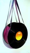 art textile mode autres disque sac recycle rock : Sac disque vinyl 33 tours camaïeu de rose UNIKTONSAC