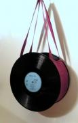 art textile mode autres disque detourne sac rock : Sac disque vinyl 33 tours rose fuchsia uniktonsac