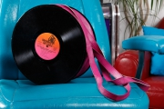 art textile mode autres disque recyclage sac disco : Sac disque 33 tours vinyl Zippé rose fuchsia UNIKTONSAC