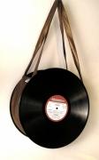 art textile mode disque bronze sac vintage : Sac disque 33 tours vinyl bronze UNIKTONSAC