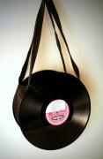 art textile mode autres disque detourne sac rock : Sac disque 33 tours vinyl noir UNIKTONSAC