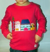 art textile mode architecture fille tshirt colore unique : T-shirt mon petit village par Modelunik 6 ans