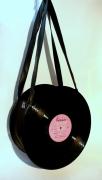 art textile mode autres disque detourne recycle sac : Sac disque 33 tours vinyl noir UNIKTONSAC