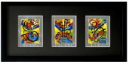 tableau abstrait feuilles darge encre de chine huile bonheur : triptyque porte bonheur III