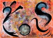 tableau abstrait peinture ,a l hu encre de chine sur metal maghreb : ICI ET AILLEURS