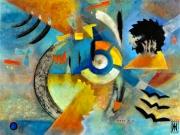 autres abstrait bleuvert encre de chine orange : Wild world 1c