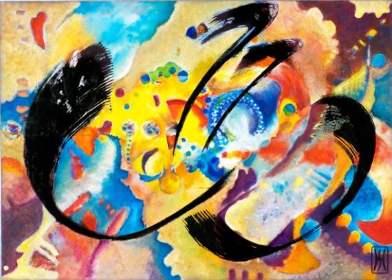 TABLEAU PEINTURE peinture à l'hu encre de Chine sur métal bonheur Abstrait Peinture a l'huile  - DECOLLAGE