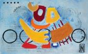 tableau abstrait metal peinture ,a l hu encre de chine : communication