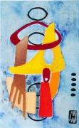 tableau abstrait metal peinture ,a l hu encre de chine : reflexion