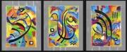 tableau abstrait feuilles darge encre de chine huile bonheur : triptyque porte bonheur II