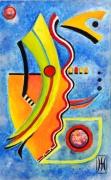 tableau abstrait metal peinture ,a l hu encre de chine : depart