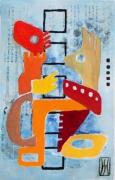 tableau abstrait metal peinture ,a l hu encre de chine : explication