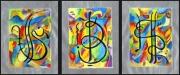 tableau abstrait feuilles darge encre de chine huile bonheur : triptyque porte bonheur IV