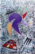 tableau abstrait sur metal huile encre de chine : cirque