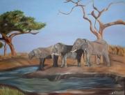 tableau animaux elephants : peacefull