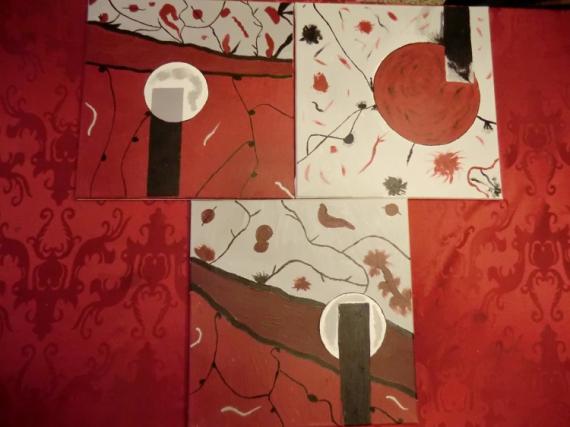 TABLEAU PEINTURE triptyque rouge noir abstrait Abstrait Acrylique  - Triptyque éléments