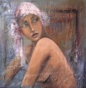 tableau personnages femme portrait retro figuratif : Chloé