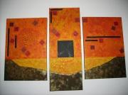 tableau abstrait : Triptyque orangé